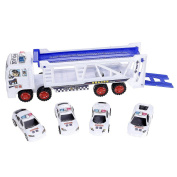 VANKER Double Deck Police Trailer Carrier Truck With 4 Cars Kids Play Toys