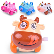 Inverlee Clockwork Funny Toy Cartoon Puppy On The Chain OF Small Car Cattle Toys Clockwork Car Educational Toys