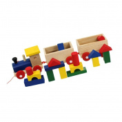 MagiDeal Wooden Train Blocks Toys Geometric blocks Puzzles Educational Toddler Toy