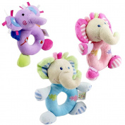KateDy 3pcs Baby Rattle Toy Hand Bells Baby Hand Grasp Handle Developmental Toys,15cm Cartoon Stuffed Animal Hanging Hand Rattle Toys . Baby Infant-Purple & Blue & Pink Elephant