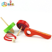 Wooden Spinning Top Toy Classic Pull Cord Tops Manual Spinning Gyro for Kids Adult £¨Red+Green£