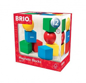 BRIO 8 Piece Wooden Magnetic Stacking Building Blocks Toddler Toy