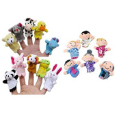 Baby Toy Makalon 16PC Finger Puppets Animals People Family Members Educational Toy