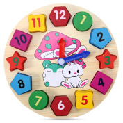 Wooden Colourful Cartoon Pattern Digital Blocks Clock Early Educational Toy For Baby