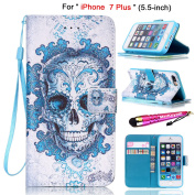 "iPhone 7 Plus - Case [Wrist Strap], MerKuyom [Kickstand] Premium PU Leather Wallet Pouch Card Holder Flip Cover Skin Case For Apple [ iPhone 7 Plus ], 7Plus 5.5"", +cStylus"