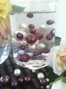 Vase Filler Pearls For Floating Pearl Centrepiece, 50 Chocolate/Ivory Pearls, Jumbo & Mix Size No Hole Pearls