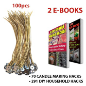 """CozYours 8"""" BEESWAX HEMP CANDLE WICKS 100 pcs; ORGANIC & NATURAL; Thick Gauge 0.08"""" (2.0mm); 70 CANDLE MAKING HACKS + 291 DIY HOUSEHOLD HACKS E-BOOKS INCLUDED"""