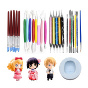 AK ART KITCHENWARE Clay Scuplture Tools Kit with Caking Decorating Doll Making Silicone Mould 5 Types Clay Modelling Sculpting Set for Craving and Shaping