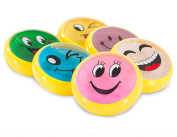 6 Pack Magic Emoji Slime, Colourful DIY Crystal Slime Toys, Creative Rubber Clay Soft Mud/ Plasticine for Kids Toys Gift Non-Toxic Easy Clear