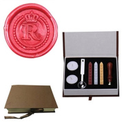 MDLG Vintage Alphabet Letter R Crown Wreath Initial Embossment Wedding Invitations Gift Cards Wax Seal Stamp stationery Sealing Wax Stamp Wood Handel Gift Box Candles Wax Sticks Melting Spoon Kit Set