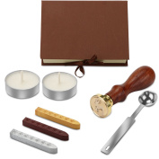 AOZBZ Retro Wax Seal Stamp Kit, Letter Wax Badge Seal Stamp Set Antique Manuscript Sealing Wax Sticks Handmade Hobby Tools with Spoon, White Wax and a Beautiful Gift Box