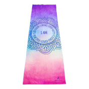 """Premium Quality Yoga Mat Towel by YogAffirmations – Non Slip, Silicone Dots, Ultra Soft Microfiber, Wicking Sweat Absorbent – Great for Hot Yoga, Pilates, Meditation – Perfect Size 24"""" x 72"""""""