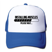 Installing Muscles Please Wait Printed Hat Summer Mesh Cap With Adjustable Snapback Strap With 5 Colours