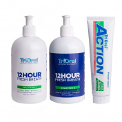TriOral 12-hour Fresh Breath 2-bottle Rinse System and TriOral Action Toothpaste, Mint