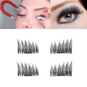 DZT1968 4pcs Ultra-thin 0.5mm 8-11mm Man-made Magnetic Eye Lashes 3D Reusable False Magnet Eyelashes party gift