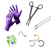 Nose Piercing Kit 20g 10Pieces 3 Nose Hoops 1 Nose Screw Needles Forceps