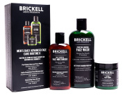 Brickell Men's Daily Advanced Face Care Routine II - Activated Charcoal Facial Cleanser + Face Scrub + Face Moisturiser Lotion - Natural & Organic