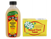 Monoi Tiki Tahiti Tiare and Monoi Tiare Tahiti Gardenia Soap Bar Bundle With Coconut Oil, Vitamin E and Gardenia, 120ml and 130ml