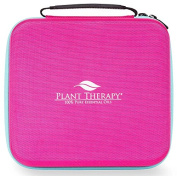 Plant Therapy Large Hard-Top Essential Oil Carrying Case. Holds up to 30 Bottles (5 ml, 10 ml, 15 ml) Stain and Water Resistant,, Durable, Travel Ready. Pink with Teal Zipper.