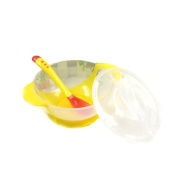 BestWare Baby Suction Bowl Training Bowl Perfect Feeding Set Spill Proof Spoon Lid Bowl Yellow