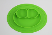 Silicone Happy Face Shape Place Mat (Green) for Kids Children Toddlers Babies Highchair Feeding Tray Kitchen Dining Table with Built in Plate 3 Sections Compartment Portable Non Slip Surface