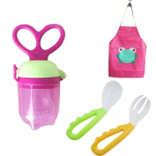 KateDy Fresh Food Baby Feeders Baby Fork and Spoon Set Wterproof Baby Bibs Apron,Toddlers Kids Self Feeding Tools Set,Keep Stains Off,Perfect Gift for Baby,Parents