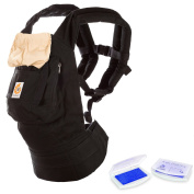 360 All Carry Positions Award-Winning Ergonomic Baby Carrier (Black/Camel) and Lil' Jumbl Baby Hand & Foot Memory Ink Stamp Keepsake Pad