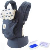 Original Award Winning Ergonomic Multi-Position Baby Carrier with X-Large Storage Pocket (Marine) and Lil' Jumbl Baby Hand & Foot Memory Ink Stamp Keepsake Pad