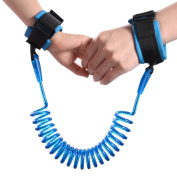 Baby Anti-lost Wrist Link for Toddler Kids, Safety Walking Harness & Leash Hand Belt with Double Layer Cotton Hook and loop Wristband Strap & Built-in Stainless Steel Wire Rope for Child 1.5m / 4.9Feet Blue
