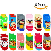 Liwely 6 Pairs Baby Boys Girls Socks for 1 - 4 Years Toddlers, Mix Colours Assorted Socks with 3D mouth