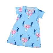 UMFun Baby Girl Kids Digital Printing Dress Clothes Outfits Dress