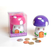 Beautiful Toadstool Shaped Fairy Friendship House Kids Money Box Bank Glittery