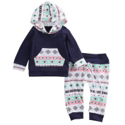 3 - 18 Months Odeer Toddler Infant Baby Girl Boy Clothes Set Geometric Hooded Tops+Pants Outfits Navy