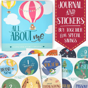 Baby Memory Book + Bonus Monthly Milestone Stickers. Baby shower gift & keepsake to record first year photos & milestones. Five year scrapbook & picture album. Boy & girl babies.