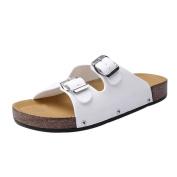Ecurson Summer Men Open Toe Leather Beach Chic Flat Sandals Slippers (US:9.5