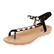 Ecurson Women Flat Pearl Beaded Bohemia Leisure Thong Comfy Sandals (US:9.5