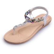 Ecurson Women Flat Beaded Bohemia Thong Comfy Beach Sandals (US:7.5