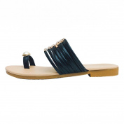 Ecurson Women Fashion Pearl Summer Flat Slide On Flip Flops Sandals (US:7