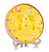 Baby Hands And Feet Ink Hand And Foot Print Souvenirs, Pink Box Yellow Mud