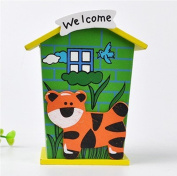 DIY Baby Children Toys Piggy Bank Chalet Coin House Wood Room Save Money Tiger Shaped