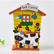 DIY Baby Children Toys Piggy Bank Chalet Coin House Wood Room Save Money Cow Shaped