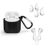 GiBot Airpods Case Holder Skin Protector for Apple Airpods Charging Case with Earhook,Necklace,Black