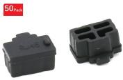 iExcell Ethernet Hub Port RJ45 Anti Dust Cover Cap Protector Plug, Black, Quantity 50