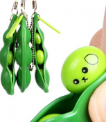 Extrusion Squeeze-a-Bean Soybean Stress Relieving Playful Charms Keychain for Mobile Keys
