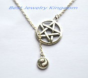 Pentagram Necklace , Small Pentacle Necklace , Silver Pentagram Necklace,Yin-Yang Pendant, yin yang necklace