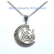 Moon Necklace, Crescent Moon,Tiger Necklace,Wild Animal Jewellery, Gift For a Man, Birthday Gift, Silver Jewellery