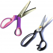 23cm Tailoring Scissors & 23cm Pinking shears with serrated blade, used to cut a zigzag edge - Stainless Steel Fabric Shears - Used for Cutting Fabric, Clothes, Altering, Sewing, Tailoring & Craft Purpose