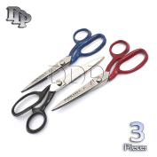 DDP 3 PCS TAYLOR SCISSORS FABRIC CUTTING STAINLESS STEEL RED, BLACK, BLUE colour COATED HANDLE 18cm