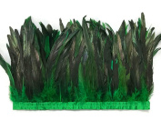 Rooster Tails,1 Yard - 25cm - 30cm Kelly Green Dyed Over Natural Coque Tails Long Feather Trim (Bulk) Headdress, Costume, Carnival Feather Trim