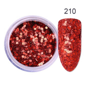 CoulorButtons 10ml Ultra-thin Red Glitter Hexagon Nail Sequins Sparkle Powder DIY Nail Art Materials